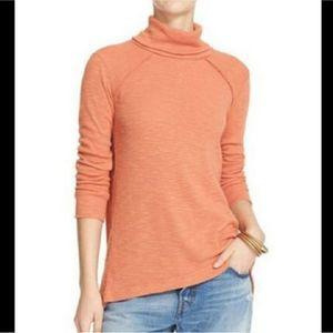 Free People Orange Split Back Turtleneck Tunic